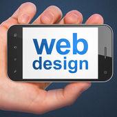 SEO web development concept: Web Design on smartphone — Stock Photo
