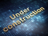 Web development concept: Golden Under Construction on digital background — Stock Photo