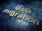 Information concept: Golden Data Migration on digital background — Stock Photo