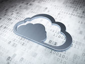 Cloud computing concept: Silver Cloud on digital background — Stock Photo
