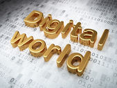 Information concept: Golden Digital World on digital background — Stock Photo