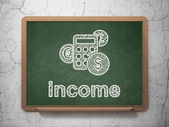 Business concept: Calculator and Income on chalkboard background — Stok fotoğraf