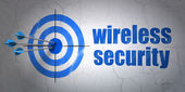 Privacy concept: target and Wireless Security on wall background — Stock Photo