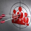 Marketing concept: arrows in Business Team target on wall background — Stock Photo