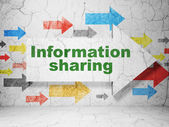 Information concept: arrow with Information Sharing on grunge wall background — Stock Photo
