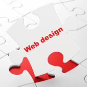 Web ontwerpconcept: webdesign op puzzel achtergrond — Stockfoto