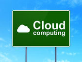 Cloud technology concept: Cloud Computing and Cloud on road sign background — Stock Photo