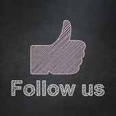 Social media concept: Thumb Up and Follow us on chalkboard — Stock Photo
