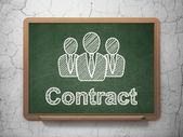 Finance concept: Business People and Contract on chalkboard background — Stock Photo