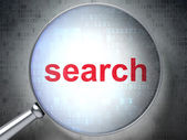 SEO web design concept: Search with optical glass — Stock Photo