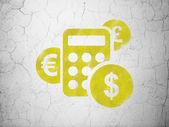 Concepto de finanzas: calculadora sobre fondo de pared — Foto de Stock