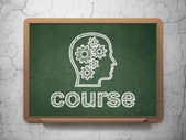 Education concept: Head With Gears and Course on chalkboard background — ストック写真