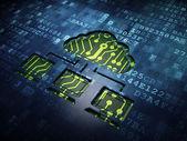 Nube il concetto di rete: rete nuvola sullo sfondo schermo digitale — Foto Stock
