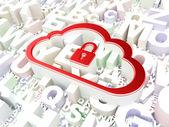 Concepto de computación en la nube: nube con candado en el fondo del alfabeto — Foto de Stock