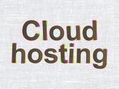 Conceito de computação em nuvem: nuvem de hospedagem em fundo de textura de tecido — Fotografia Stock