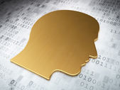 Information concept: Golden Head on digital background — Stock Photo