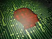 Finance concept: Head on circuit board background — Stock Photo