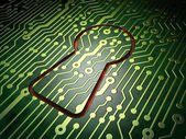 Data concept: Keyhole on circuit board background — Stock Photo
