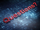 Education concept: Red Questions? on digital background — Stockfoto