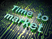 Time concept: Time to Market on circuit board background — Stock Photo