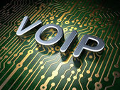 SEO web design concept: VOIP on circuit board background — Stock Photo