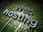 SEO web design concept: Web Hosting on circuit board background — Stock Photo