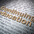 Stock Photo: Education concept: Golden Continuing Education on Education background