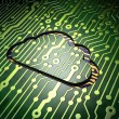 Cloud networking concept: Cloud on circuit board background — Stock Photo #41507421