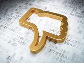 Social media concept: Golden Thumb Down on digital background — Stock Photo