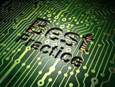 Education concept: Best Practice on circuit board background — Stok fotoğraf