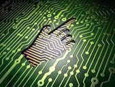 Web development concept: Mouse Cursor on circuit board background — Stock Photo