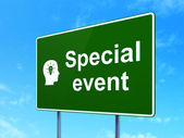 Business concept: Special Event and Head With Light Bulb on road sign background — Stock Photo