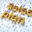 Marketing concept: Golden Sales Plan on digital background — Stock Photo
