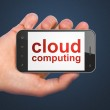 Cloud networking concept: Cloud Computing on smartphone — Stock Photo