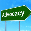 Law concept: Advocacy on road sign background — Stock Photo #41664993