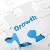Finance concept: Growth on puzzle background — Stock Photo