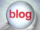 SEO web design concept: Blog with optical glass — Foto de Stock