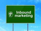 Business concept: Inbound Marketing and Head With Gears on road sign background — Stock Photo