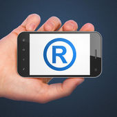 Law concept: Registered on smartphone — Stockfoto