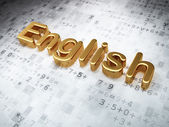 Education concept: Golden English on digital background — Stok fotoğraf