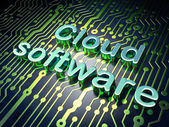 Cloud technology concept: Cloud Software on circuit board background — Stock Photo