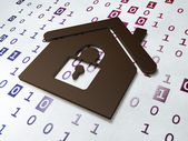 Privacy concept:  Home on Binary Code background — Stock Photo