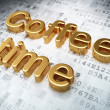 Time concept: Golden Coffee Time on digital background — Stock Photo