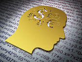 Education concept: Golden Head With Finance Symbol on Education background — Stock Photo