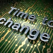 Stock Photo: Time concept: Time to Change on circuit board background