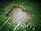ビジネス コンセプト: バック グラウンド回路基板上のフォルダー — ストック写真