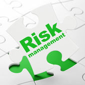 Finance concept: Risk Management on puzzle background — Stock Photo