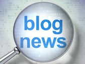 News concept: Blog News with optical glass — Stock Photo