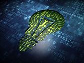 Finance concept: Light Bulb on digital screen background — Fotografia Stock