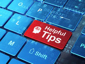 教育理念: 头财务符号与有用的提示计算机键盘背景 — 图库照片